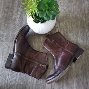 Frye Button Mid Calf Brown Leather Boots 5.5 Shoes